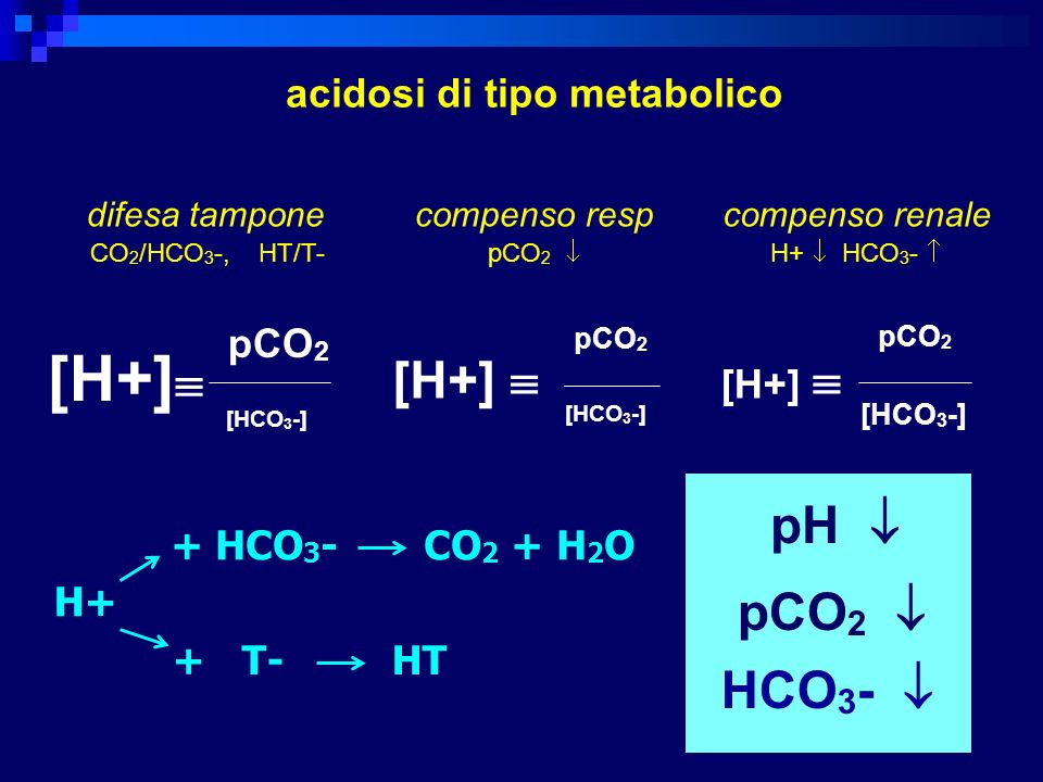 [H+] [H+]  pH  pCO2  HCO3-  acidosi di tipo metabolico pCO2